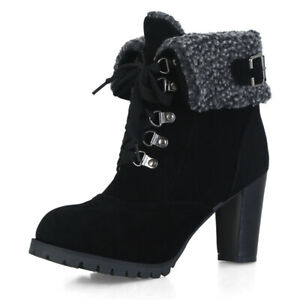 Women Winter Booties Lace Up Chunky High Heels Faux Fur Snow Boots US 6 Black
