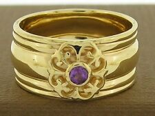 R061A- Solid Heavy 18K Gold NATURAL Amethyst WIDE Band Ring Fleur-de-Lis size P