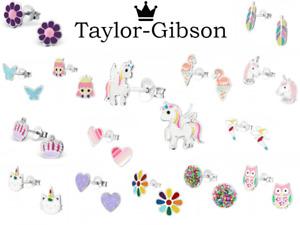 925 sterling silver studs Unicorn earrings Pink Heart Star glitter Kids Girls