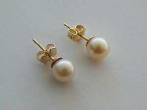 QUALITY 14K YELLOW GOLD  6mm AKOYA PEARL STUD EARRINGS