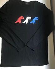 Sport b. by agnes b. Black Crew Neck Red White & Blue Dinosaur Print Top Sz.S