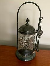 Antique Silver Plated Pickle jar Cut Glass With Tongs Made in USA