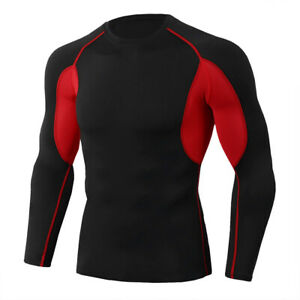 Mens Compression Shirt Sport Long Sleeve Tight fit Top Wicking Cool Dry Moisture