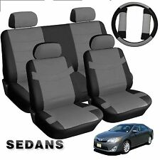 PU Faux Leather Black and Gray Leatherette Car Seat Covers 13pc Mid Sized Sedans
