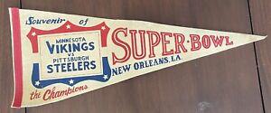 Vintage 1975 Pittsburgh Steelers Minnesota Vikings Super Bowl IX 9 Pennant NFL