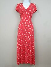 Boden Red Dress 10 Floral Maxi Jersey Long 10L V-Neck Shortsleeve Viscose