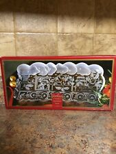 GORHAM NORTH POLE EXPRESS HOLIDAY CHRISTMAS SERVING CRYSTAL GLASS TRAY