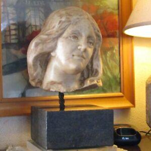 Scultura testa di Nobildonna in marmo bianco di Carrara - Italia - XVIII - XIX S