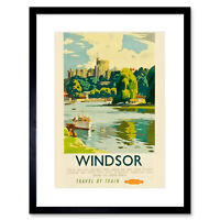 Travel Windsor Castle Thames River Boat Royal Seat UK Framed Print 12x16 Inch