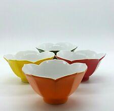 Vintage Porcelain Tulip Rice Bowls Green Orange Red & Yellow Lot of 6 Japan