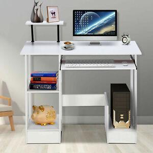 90cm Warm White Wooden Computer Desk Laptop PC Table Shelf Corner Workstation