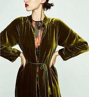 Fashion Womens Jacket Coat Long Sleeve Yellow Green Velvet Red Lining Kimono