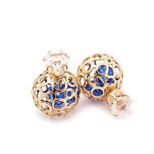Zircon Stud Fashion Earrings Red Blue Hollow Gold BallsStones Inside  E1190