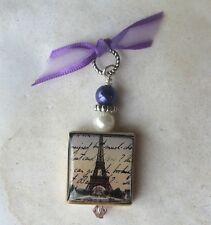 Eiffel Tower Pendant Charm Paris France VTG Post Card Art French Script Writting