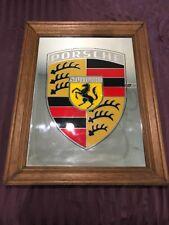 "Vintage Large Porsche Stuttgart Advertising Mirror Framed 17 1/2"" x 23 1/2"""