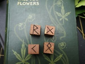 Cedar Wood Runic Dice Set - Pagan, Wicca, Witchcraft, Norse, Divination