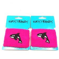 2 Pink Fashion Wrist Bands Orca Sweatband Free Shipping