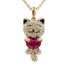 Fashion Jewelry - 18k Rose Gold Plated Happy Cat Necklace (FN097)