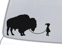GIRL WALKING A BUFFALO Vinyl Decal Sticker Car Window Wall Bumper Funny Pet Cute