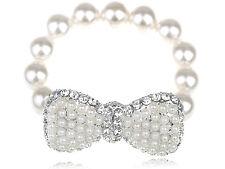Fashion Lady Faux Pearl Beads White Bow Tie Simple Crystal Rhinestone Bracelet