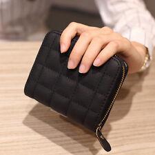 Women Leather Square ZIPPER Purses Lattice Wallet Pouch Mini Bag Card Holders Black