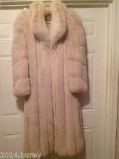 GORGEOUS! PRISTINE! 100% REAL GENIUNE SILVER BLUSH FOX COAT LONG SIZE 9/10-12