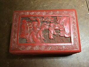 Antique Chinese Cinnabar Lacquer Box scholar red qing vintage keepsake jewelry