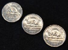 1959-61 Canadian 5 Cent Nickels in BU Condition Nice Old Collectible Set!