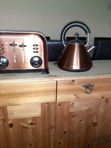 Copper coloured kettle and Toaster