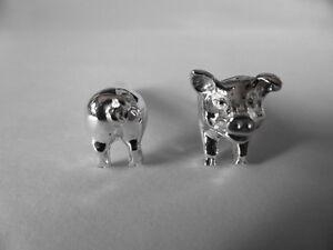 sterling silver pig swivel cufflinks UK made