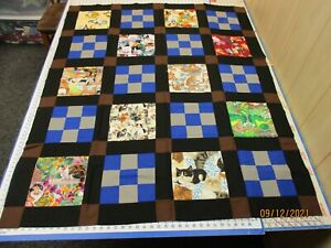 Handmade Unfinished Quilt Top Cats & Squares Black Sash Approx. 49x60 (507A)