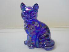Fenton Art Glass Cat Floral Hand Painted Artist Signed Mint! Nr W/Orig. Label