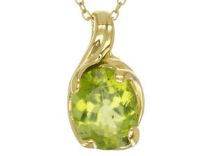 2.30 Ct Oval Peridot Pendant With Chain Necklace in Yellow Gold Over
