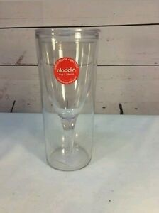 Aladdin Clear Insulated Wine Tumbler New With Lid Picnic Drink