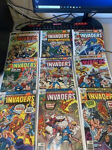 (14) Issue Invaders Marvel Comic Book Lot Bronze Age Captain America Human Torch