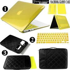 New Glossy Clear Case + Carrying sleeve bag + Keyboard Cover For Apple Macbook