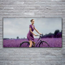 Canvas print Wall art on 120x60 Image Picture Woman Bicycle Meadow People