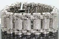 "10Ct Round Cut Diamond Elegant Men's 8"" Statement Bracelet 14k White Gold Over"
