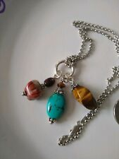QVC STERLING SILVER ROLO CHAIN WITH GEMSTONE CHARMS.
