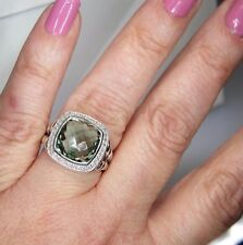 DAVID YURMAN ALBION 11MM PRASIOLITE DIAMOND STERLING SILVER RING SIZE 6