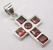 """Stone Cross Pendant 1.2"""" New Item .925 Solid Silver Faceted Red Garnet Multi"""