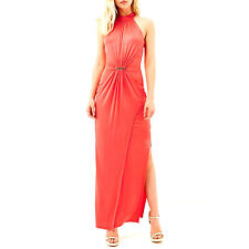 River Island Drape Maxi Dress Coral UK 12