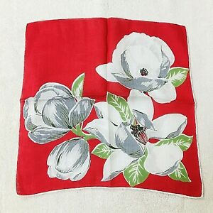 Vintage Hankie White and Grey Flowers on Red Background 14 Inches