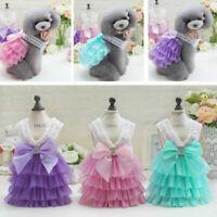 Wedding Pet Cat Dog Tutu Lace Dress Skirt Princess Costume Spring Summer Clothes