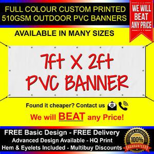 7ft x 2ft PVC Banner Custom Printed Outdoor Heavy Duty Banners Advertising
