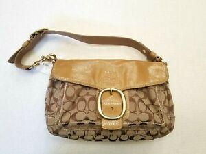 COACH BLEEKER Signature Canvas Flap Shoulder Bag w Leather Trim Khaki Camel $298