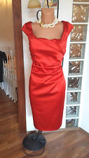 Gorgeous Red Satin Ruched Coast Dress size 10
