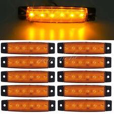 10 X12/24V Yellow 6LED Side Marker Light Indicator Lamp Truck Trailer Lorry Boat