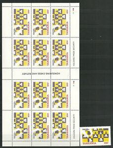 2866/Tansania 1986 314 und KB ** Schach Schachfigur Schachbrett