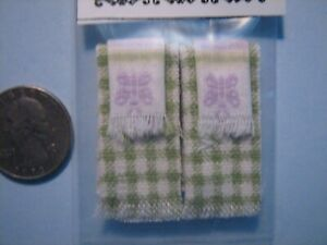 Dollhouse Miniature 4 Pc. Set  Butterfly Kitchen Towels Lime &Lavender